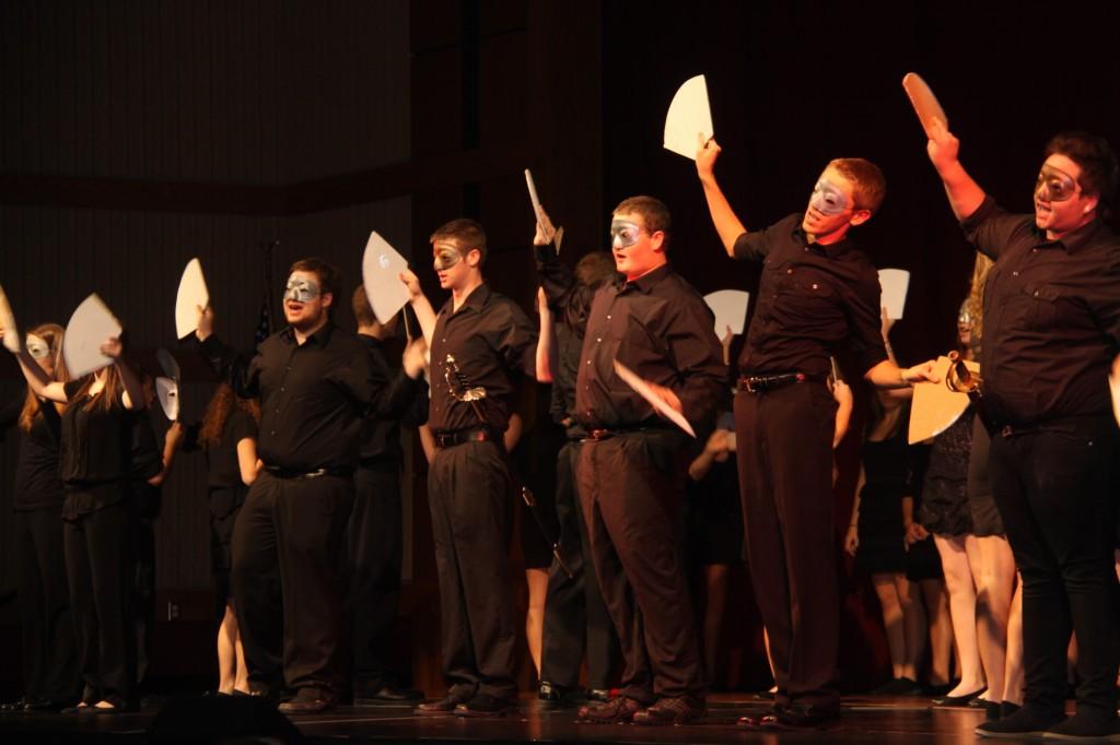 "The cast of The Phantom of the Opera performing ""Masquerade"""